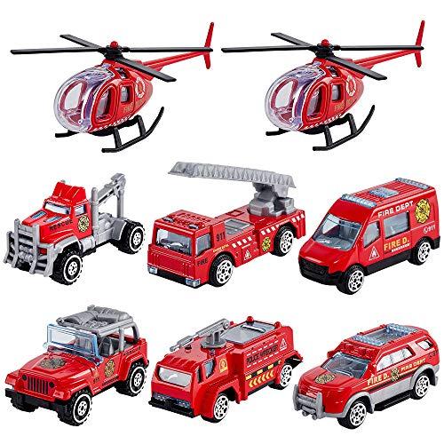 HERSITY Feuerwehr Spielzeug Modelle Mini Feuerwehrauto Metall Kinderspielzeug Deko Geburtstagskuchen Spielzeugauto Geschenk für Kinder Jungen, 8 Pcs