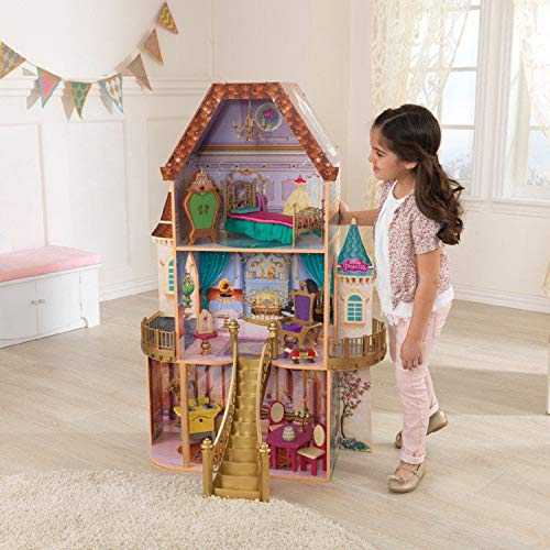 KidKraft Disney Princess Belle Enchanted Wooden Dollhouse, Almost Four Feet Tall, with Balconies, Staircase and 13 Accessories, Gift for Ages 3+