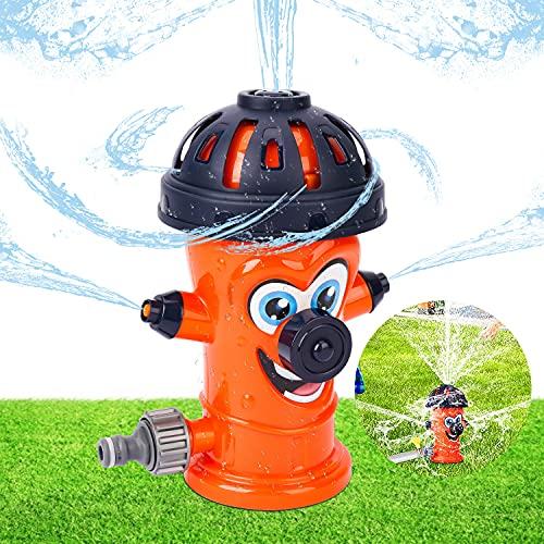 Enfant de Jet d'eau,Arroseur Jouet pour Enfant,Jouets Sprinkler,Arroseur pour Enfant,Arroseur Incendie,Gicleurs Rotatif 360°,Jeux D'Eau Exterieur Enfant pour Jardin, Pelouse,Jeu en Plein Air(Orange)