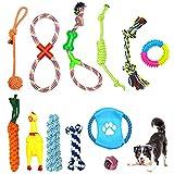 Puppy Chew Toys, 12 pcs Juguete Masticable, Juguetes para Masticar Cachorros, Limpieza de Dientes con Función de Cuidado Dental para Perro, Juguetes duraderos Molar para Mascotas