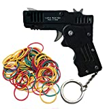 Firesofheaven Black Rubber Band Gun Mini Metal Folding 6-Shot with Keychain for Shooting Game Outdoor Activities Brain Teaser for Adults and Kids
