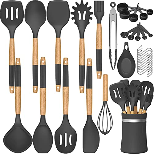 33 PCS Silicone Kitchen Utensils Set, Umite Chef Heat Resistant Cooking Utensils Set With Holder, Wooden Handle Kitchen Gadgets Tools Spatula Set for Nonstick Cookware(BPA Free & Grey)