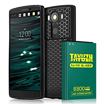 TAYUZH V10 Battery   6800mAh Replacement Li-ion V10 Extended Battery with Back Cover & Soft TPU Protective Case for V10 BL-45B1F H901 H900 VS990 H960A LS992