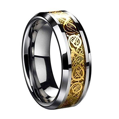 Herren Ring - SODIAL(R)Drachenschuppe Drachen Muster schraeg Kanten keltisch Ringe Schmuck Hochzeitsband fuer Maenner Golden 8