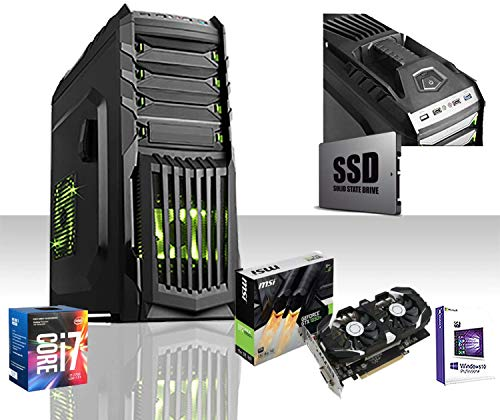 GAMMA SSD PC DESKTOP GAMING COMPLETO INTEL i7-7700 4.2 GHZ/GTX 1050TI 4GB GAMING DDR5 4K/RAM DDR4 16GB 2400MHZ/SSD 240GB/HD 1TB /WIFI/LICENZA WINDOWS 10 PRO/HDMI,VGA,DVI,EDITING,3XFAN GREEN