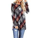 UJUNAOR Damen Sweatshirt Pullover Loose Tops Langarm Damenmode Casual Plaid Print Shirt Langarm...