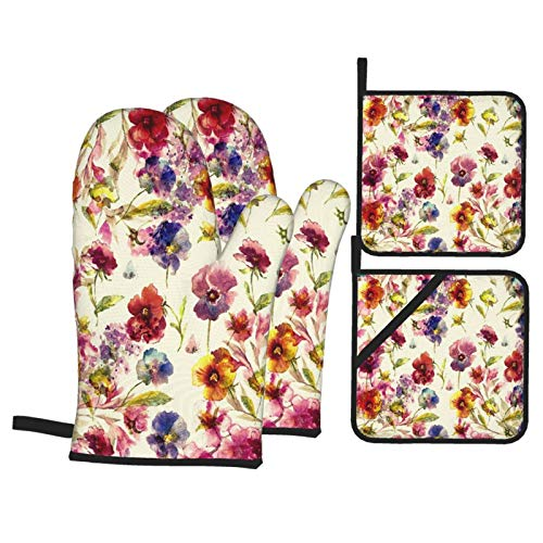 WSNWCY 4Pcs Oven Mitts and Pot Holders Sets,Beautiful Floral Garland, With Pansies,lilac Flowers And Butterfly,Potholders Waterproof Polyester for Kitchen Cooking Baking BBQ
