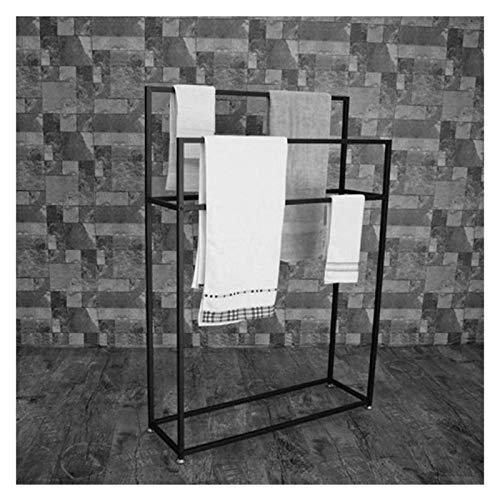 Toallero cromado para baño, toallero de pie con 3 brazos, estante de baño para toallas de baño o ducha, fácil de montar, metal, negro