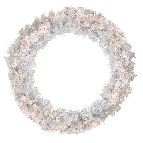 DAK Pre-Lit White Cedar Pine Artificial Christmas Wreath - 36-Inch, Clear Lights