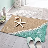 Yun Nist Fluffy Shag Plush Area Rug,Coastal Beach Starfish Shells Ultra Soft Shaggy Carpet for Bedroom Living Room Bathroom Nursery, Teal Sea Water Floor Door Mats Home Decor 24×36in