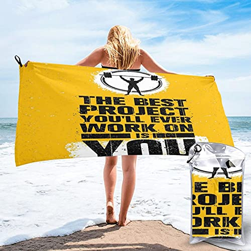 Microfiber Beach Towel,The Best Project is You Phrase with Weightlifter Fit Body Concept, Quick Dry Super Absorbent Lightweight Oversized Large Towels Blanket for Travel Pool Swimming Bath Women Men