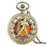 Aries Tauro Géminis Cáncer Leo Virgo Libra Escorpio Sagitario Capricornio Acuario Piscis Collar Colgante Cuarzo Relojes de Bolsillo Acuario
