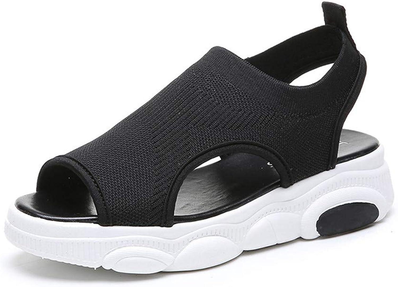 Women's Sandals Open Toe Beach Flip Flops Elastic T-Strap Post Thong Flat Sandals Mesh Surface shoes