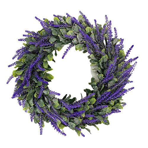 Artificial Lavender Wreath Flower 16 Inch Green Leaves Summer Fall Large DIY Wreaths Succulent Wreath Arrangement for Front Door Home Office Real Twig Based Back