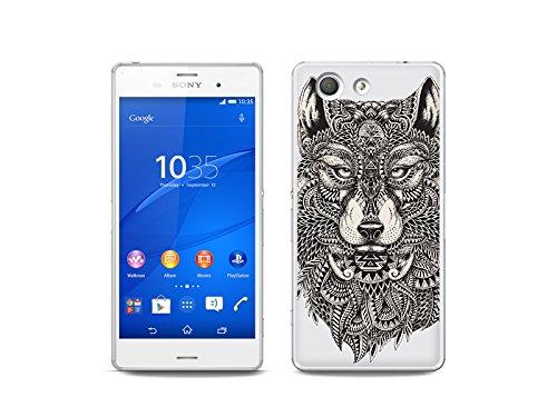 etuo Custodia per Sony Xperia Z3 Compact – Fantastic Case – Azteken Wolf, custodia per cellulare