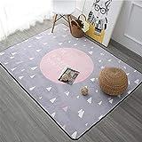 Insun Alfombra para Salón Habitación Infantil Decoración Interior Alfombra Antideslizante Lavable Rosa 100x150cm