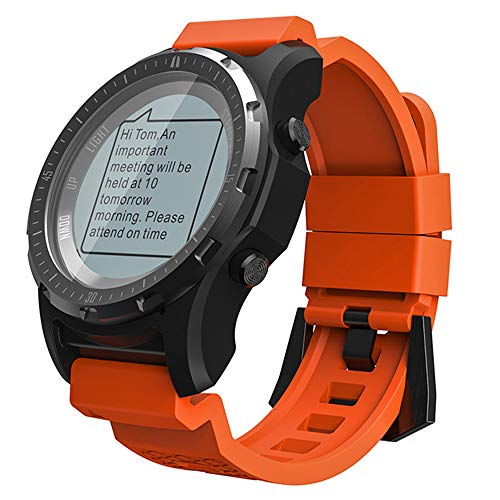 SULUO Reloj Deportivo Inteligente para Hombres, con GPS Ritmo cardíaco Monitoreo de presión de Aire Compás del velocímetro Altímetro Barómetro Fitness Tracker Senderismo Equitación Montañismo,Naranja