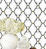 Timeet Papier Peint Géométrie Noir Blanc et Point d'or - Papier Peint Amovible - Motif Fleur Noir - Pour étagère - En vinyle - 17,8 x 78,7 po