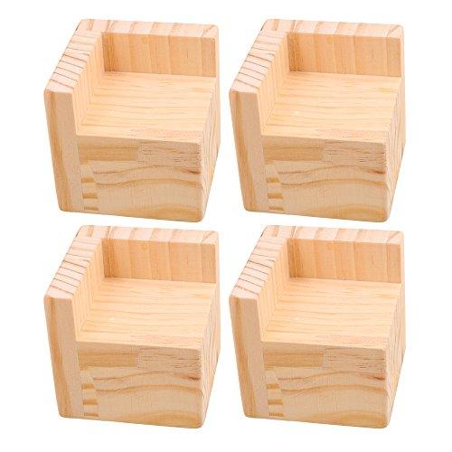 Betterhöhung, Möbelerhöhung, strapazierfähig, Holz, 7,5 x 7,5 x 5 cm, 4 Stück