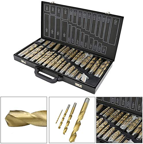 Henson 250 Pieces Titanium Drill Bits Set for Metal Stainless Steel Aluminium Wood Plastic from 3/64' up to 1/2' Twist Drill bit Include 9/64' 9/32' 5/32' 11/64' 3/8' with Heavy Duty Case