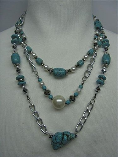 Natural mente – Turquoise, collier, env. 65 cm, pierre naturelle, collier, chaîne, turquoise, n ° 1050