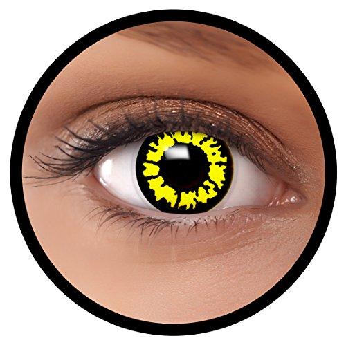 Farbige Kontaktlinsen gelb Yelllo Wolf + Behälter, weich, ohne Stärke in gelb als 2er Pack (1 Paar)- angenehm zu tragen und perfekt für Halloween, Karneval, Fasching oder Fastnacht Kostüm