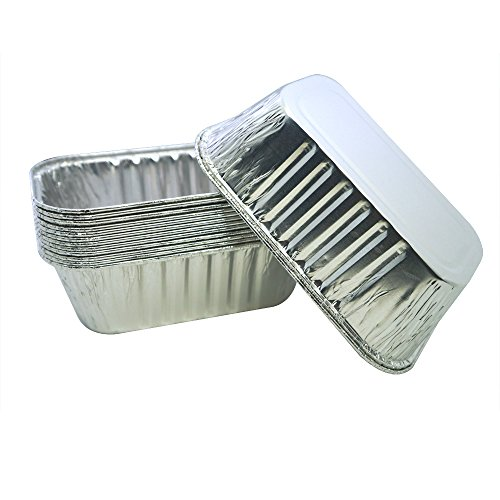 MYStar Mini Disposable Aluminum Foil Baking Pans for Cake, Bread and Loaf, 6.1'x3.4'x2' (420 ml), 20 Count