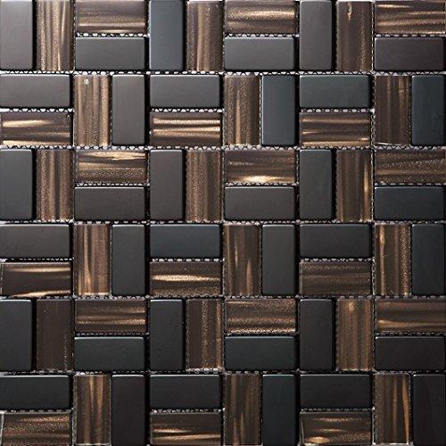 Mosaico a colori misti Vetro e acciaio inox mosaico mattonelle arte della parete In particolare modello rétro mur300*300mm--Cucina Backsplash/Parete da bagno/decorazione domestica(SA049-32/34/35)