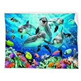 Ocean Animals Dolphins Baby Blanket Super Soft Microfiber Swaddling Blankets Wrap for Boys and Girls
