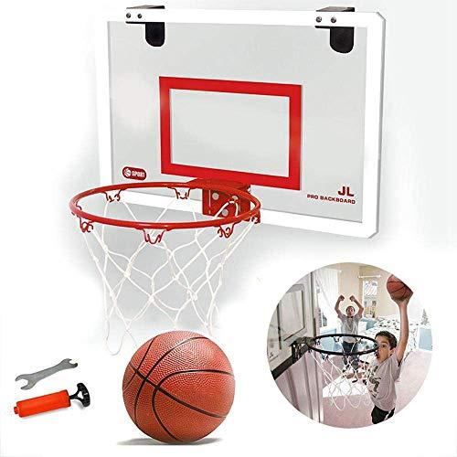 YYM Mini aro y Pelotas de Baloncesto para Interiores, aro de Baloncesto montado en la Pared para Puerta, Dormitorio, Oficina, Mini Juego de Baloncesto para niños y Adultos, 17,7 x 11,8 Pulgadas, Rojo