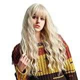 Long Curly Synthetic Hair Wigs for Women Blonde Wig with Bangs Heat Resistant Wigs