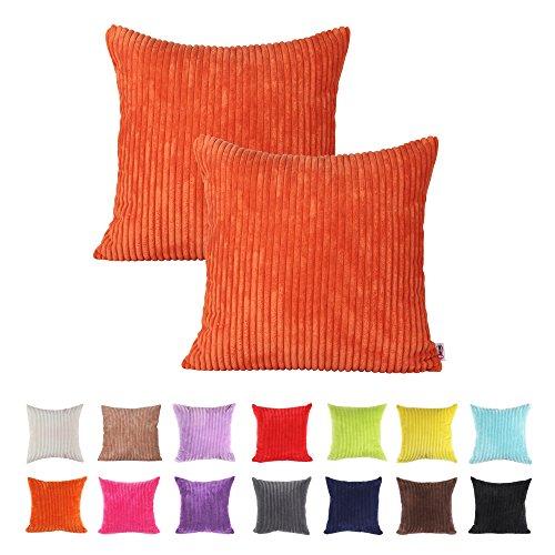 Queenie®–2pcs color sólido pana Funda de almohada de cojín decorativo para sofá funda de almohada disponible en 14colores y 5Tamaños
