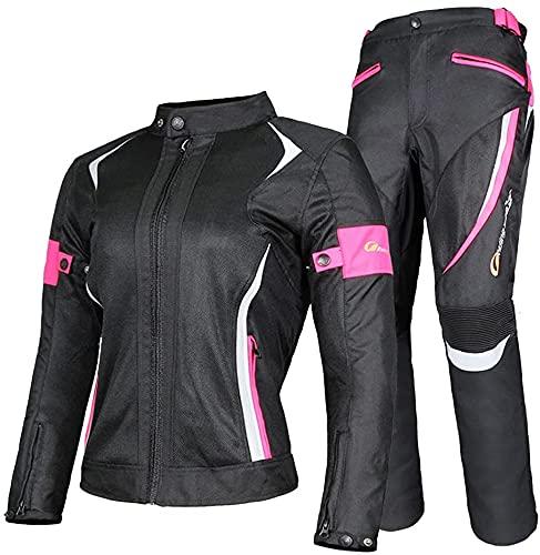 Damen Motorradkombi 2-Teiliger Jacke Und Hose Mit CE Protektoren Reflektierendes Design Trocken Und Bequem Für Alle Wetter(Color:Pink;Size:M-Medium)
