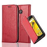 Cadorabo Coque pour Motorola Moto E2 en Rouge DE Pomme – Housse Protection avec Fermoire Magnétique, Stand Horizontal et Fente Carte – Portefeuille Etui Poche Folio Case Cover