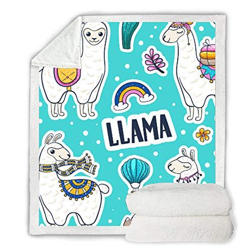 Knuffelige deken, motief Alpaca, 3D digitale print, deken Sherpa sprei, zacht, warm, pluizig, dekbed, tafelkleed, kantoor, volwassenen 75×100cm