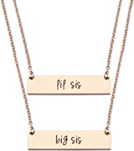 JJTZX Sister Bar Necklace Set Lil Sis & Big Sis Hand Stamped Bar Necklace New Big Sister Gift