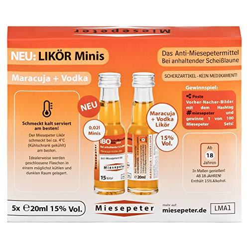 Miesepeter Likör Minis - IBO Scheißlaune-Weg 800 akut (Maracuja + Vodka, 5 x 20ml) - 3