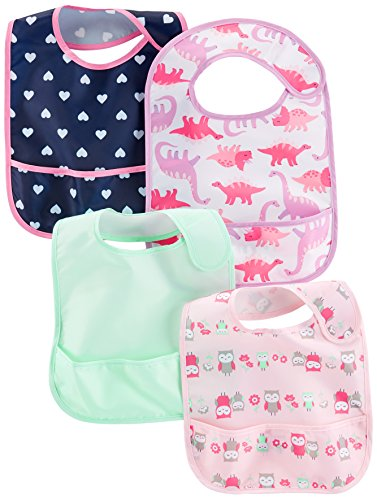 Simple Joys by Carter's Baby Girls' 4-Pack Feeder Bibs, Dino/Owls/Mint/Navy Hearts