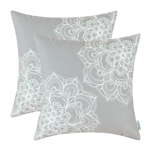CaliTime Kissenbezüge Kissenhülle 2er Pack 50cm x 50cm Grau Gemütliches Fleece Vintage Dahlia Floral Beide Seiten Wurfkissenbezüge