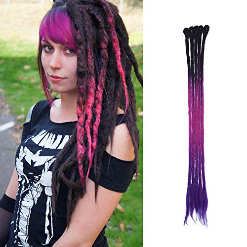 Dreadlocks Braids Extensions Synthetische Braiding Hair Crochet Dreads Haarteil Haarverlängerung handgefertigt Schwarz & Rose & Lila 5 Strähnen-24