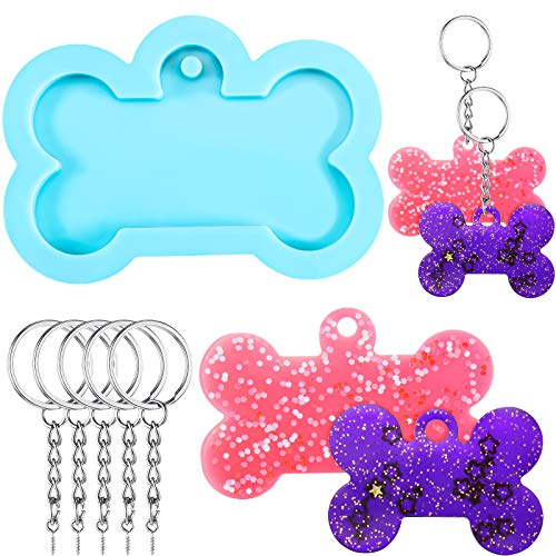 6 Pieces Silicone Keychain Mold Includes Key Rings Silicone Baking Chocolate Candy Mould Epoxy Resin Polymer Clay, Desserts Cupcake Cake Topper Jewelry Decorations (Bone Shape)