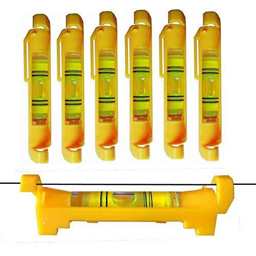 6x Schnurwasserwaage Schnurlinien Richtwaagen für Baugewerbe, Maschinenbau Vermessung (Gelb)
