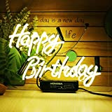 Neon Signs Happy Birthday Neon Sign Neon Light Sign Yellow Neon Sign Light Up Signs Wall Decor Lights Custom Neon Words for Wall Bedroom Girls Halloween Christmas Signs