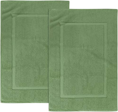 Utopia Towels Cotton Banded Bath Mats, Sage Green, [Not a Bathroom Rug], 21 x 34 Inches, 100% Ring Spun Cotton - Highly Absorbent and Machine Washable Shower Bathroom Floor Mat (Pack of 2)