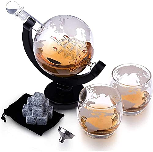 ROSG Decantador de Whisky Juego de decantador de Whisky de Cristal - Decantador de 1000 ml con tapón de Vidrio, Globo terráqueo Grabado con Vidrio Artesanal, Pinzas para Hielo, Piedras de WH