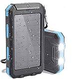 Cargador solar Ceepko, portátil, resistente al agua, batería externa de 20000mAh, cargador de batería de respaldo USB con brújula de linterna LED y mosquetón para iPhone tabletas Android