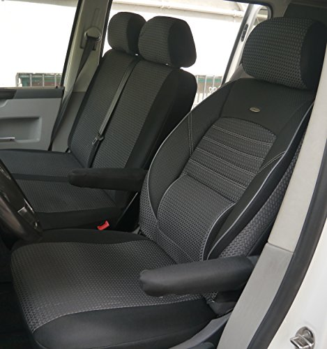 seatcovers by k-maniac Sitzbezüge T5 T6 Kombi Caravelle Transporter Kasten Elite Fahrersitz Doppelbank Zwei Armlehnen