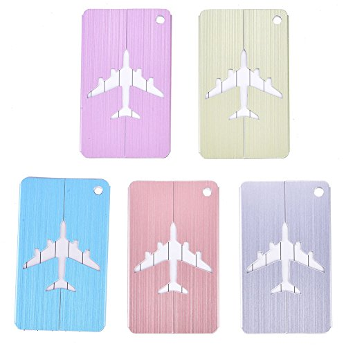 Luggage Tag-5Pcs Aluminum Alloy Metal Baggage Luggage Suitcase Tag Address ID Identity Card for Travel