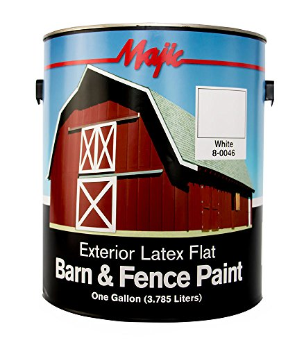Majic Paints 8-0046-1 Latex Flat Barn & Fence Paint, 1-Gallon, White
