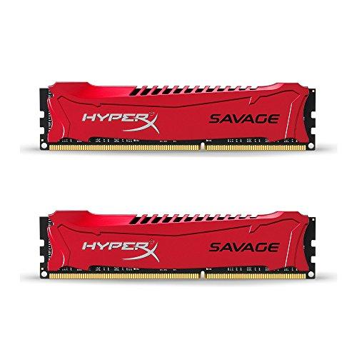 HyperX Savage - Memoria RAM de 16 GB (1600 MHz DDR3 Non-ECC CL9 DIMM, Kit 2x8 GB, XMP), Color Rojo